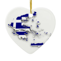 Greece Flag Map Ceramic Ornament