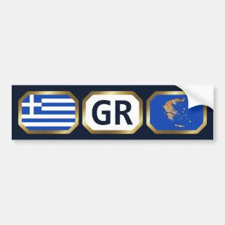 Greece Flag Map Code Bumper Sticker