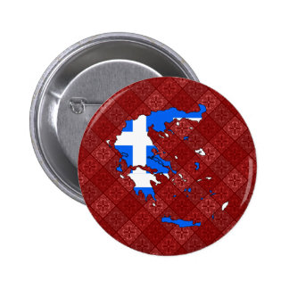 Greece Flag Map full size Pinback Button