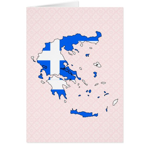 Greece Flag Map full size Greeting Card