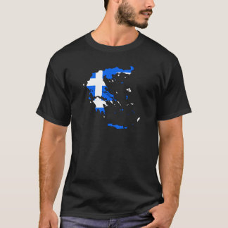 Greece Flag Map full size T-Shirt