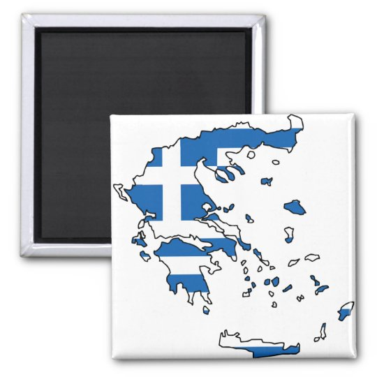 Greece Flag Map GR Magnet