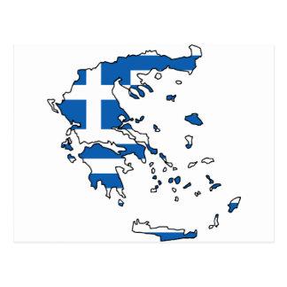 Greece Flag Map GR Post Cards