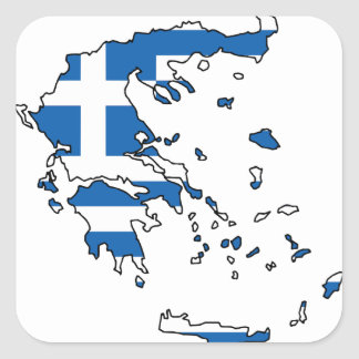 Greece Flag Map GR Square Sticker