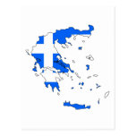 Greece flag map post cards