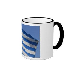 Greece Flag Ringer Coffee Mug