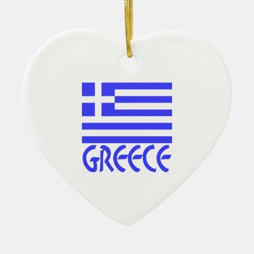 Greece Flag & Name Christmas Ornaments