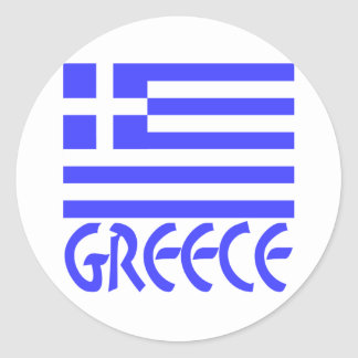 Greece Flag & Name Classic Round Sticker