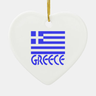 Greece Flag & Name Double-Sided Heart Ceramic Christmas Ornament