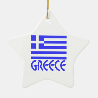 Greece Flag & Name Double-Sided Star Ceramic Christmas Ornament