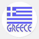 Greece Flag & Name Round Sticker