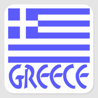 Greece Flag & Name Square Sticker