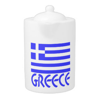 Greece Flag & Name Teapot