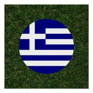 Greece Flag on Grass Poster