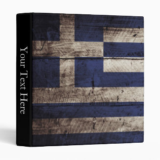 Greece Flag on Old Wood Grain Binder