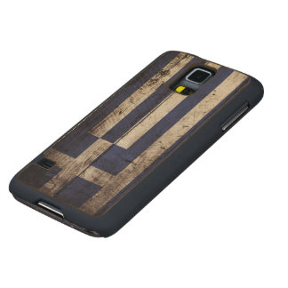 Greece Flag on Old Wood Grain Carved® Maple Galaxy S5 Slim Case
