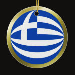 Greece Fisheye Flag Ornament