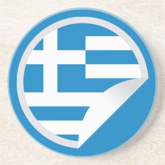 Greece Flag Peel-off Sticker Coaster