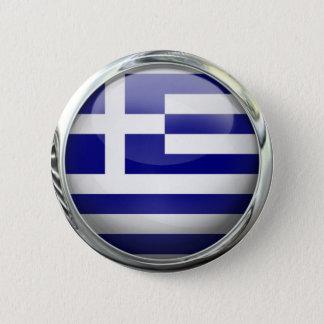Greece Flag Round Glass Ball Pinback Button