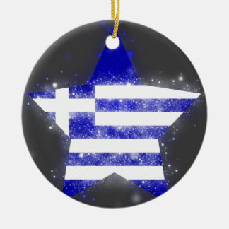 Greece Flag Star Shining Double-Sided Ceramic Round Christmas Ornament
