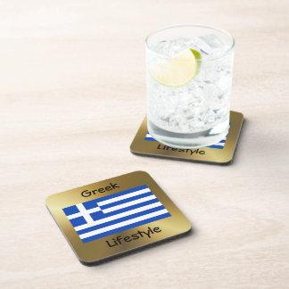 Greece Flag+Text Coaster
