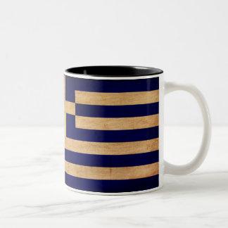 Greece Flag Two-Tone Coffee Mug