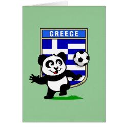 Greeting Card with Greece Football Panda design