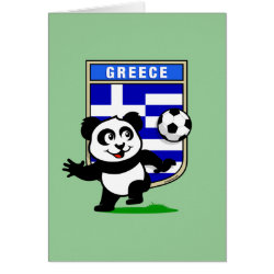 Greeting Card with Greece Football Panda design