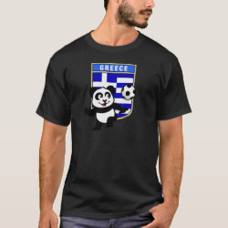 Men's Basic Dark T-Shirt with Greece Football Panda design