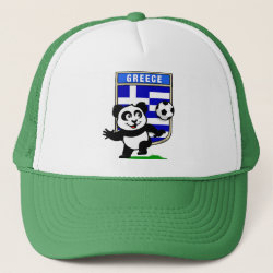 Trucker Hat with Greece Football Panda design