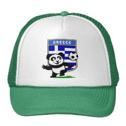 Trucker Hat with Greece Football Panda design