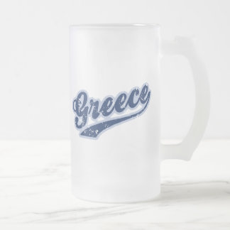 Greece Frosted Glass Beer Mug