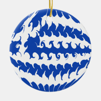 Greece Gnarly Flag Double-Sided Ceramic Round Christmas Ornament