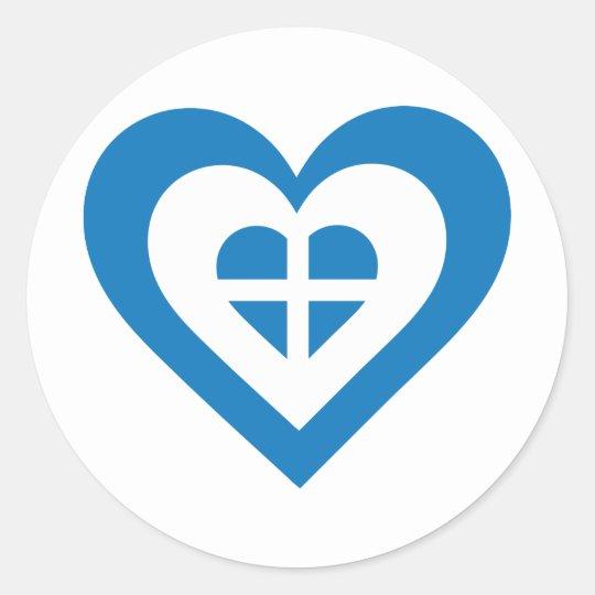 Greece Heart Classic Round Sticker