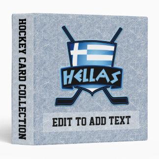Greece Hellas Ice Hockey 3 Ring Binder, Customize Binder