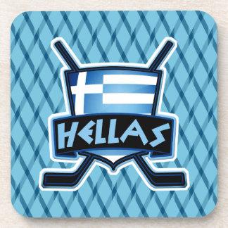 Greece Ice Hockey Flag Drinks Coasters