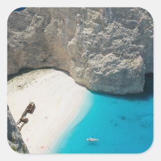 GREECE, Ionian Islands, ZAKYNTHOS, SHIPWRECK Square Sticker