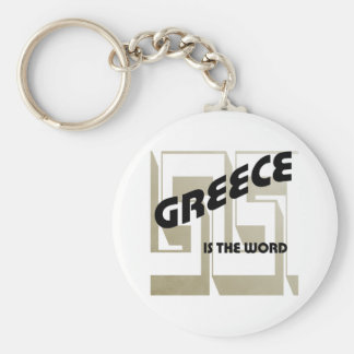 GREECE IS THE WORD BASIC ROUND BUTTON KEYCHAIN