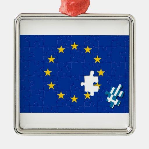 Greece leaves European Union Square Metal Christmas Ornament