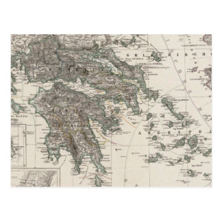 Greece Map by Stieler Post Card