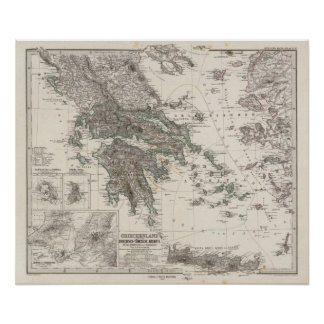 Greece Map by Stieler Poster