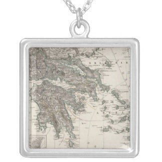 Greece Map by Stieler Silver Plated Necklace