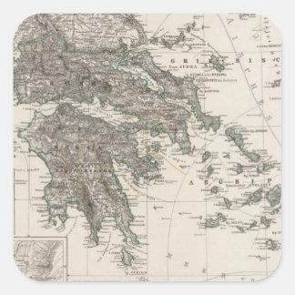 Greece Map by Stieler Square Sticker