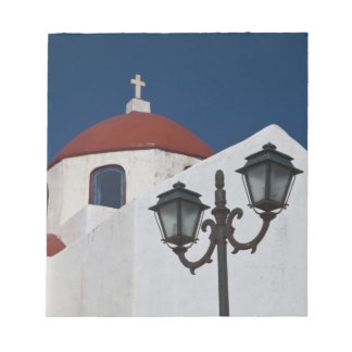 Greece, Mykonos, Chapel with red dome and Note Pad