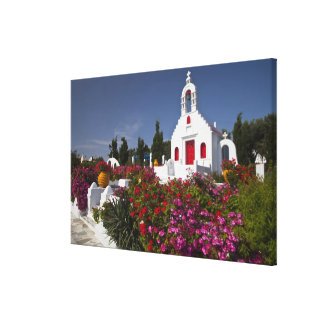 Greece, Mykonos, Cute little chapel in the Stretched Canvas Print