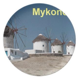 Greece Mykonos Windmills (Aggel) Dinner Plate