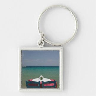 GREECE, Northeastern Aegean Islands, SAMOS, 2 Silver-Colored Square Keychain
