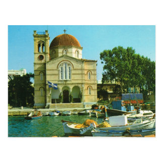 Greece, Orthodox church and harbour at Glyfada, Postcard