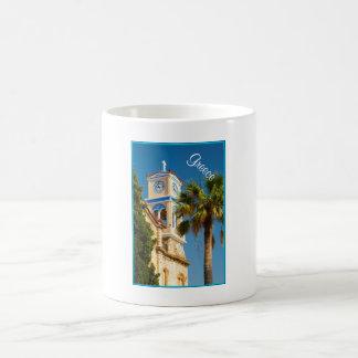 Greece - Orthodox Greek Church with Palm Tree Coffee Mug