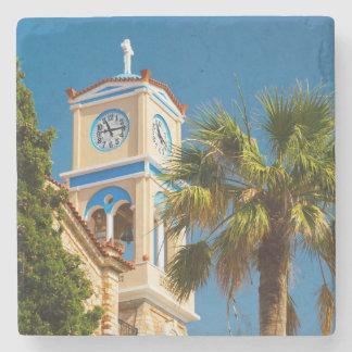 Greece - Orthodox Greek Church with Palm Tree Stone Coaster